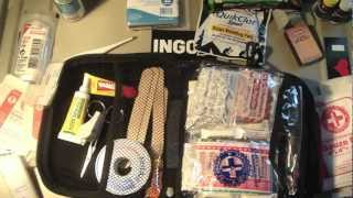 Emergency Outdoor First Aid Medical Kit & Contents Great for Camping Hiking Hunting Boating etc..